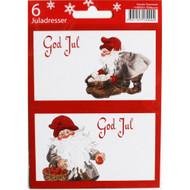 God Jul Gift labels - Tomtegubbar - 6-pack - Kerstin Svensson (11595201F)