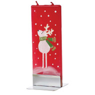 Handmade Decorative Flat Candle - Reindeer Red (D1730)