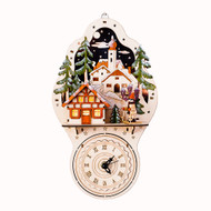 Lighted Wooden Nordic House Wall Clock - Alpine Chalet (CY0038C)