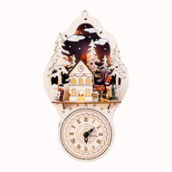 Lighted Wooden Alpine House Wall Clock - Nordic Winter (CY0038A)