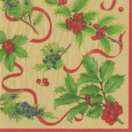 Christmas Trimmings Gold Paper Luncheon Napkins