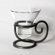 Iron Candleholder w/Glass Cup - Coffee (91-0330)