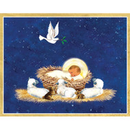 The Manger With Doves Christmas Card Box A Size 16 In (87008)