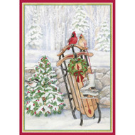 Caspari Boxed Christmas Cards - Sled In Snow - Birds Tree - 16 In (86108)