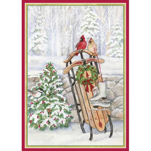 ScandinavianShoppe.com - Caspari Boxed Christmas Cards - Sled In ...