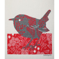 Swedish Dishcloth - Red & Grey Bird (70096)