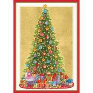 Caspari Boxed Christmas Cards - Santa's Tree - 16 In (86112)