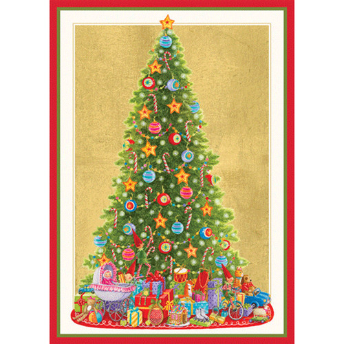 Caspari Boxed Christmas Cards - Santau0027s Tree - 16 In (86112)  sc 1 st  Scandinavian Shoppe.com & ScandinavianShoppe.com - Caspari Boxed Christmas Cards - Santau0027s ...