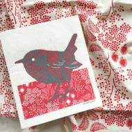 Dish Towel & Dishcloth Set - Forest Red and Bird - 2 Pc's (TT02S)