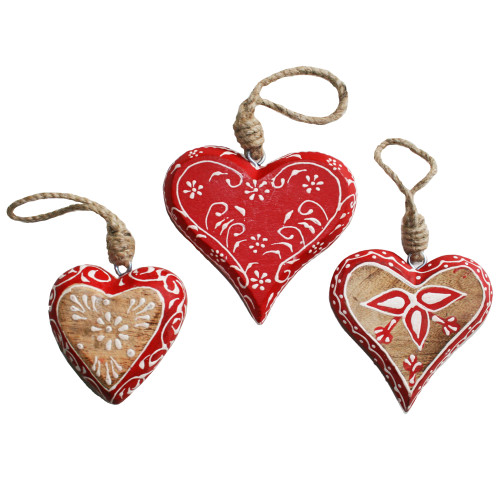 Wooden Nordic Heart Ornaments - 3 Piece Set (143170)