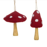 Mushroom Felt Ornaments - Set of 2 (156470)