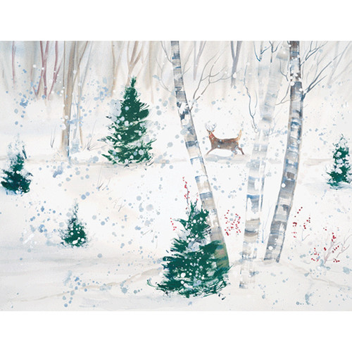 Deer In Snowy Forest Christmas Card Box C Size 16 In (88224)