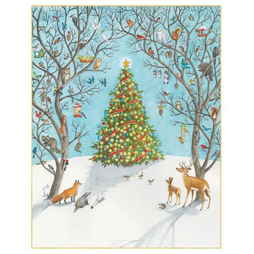 woodland and christmas tree christmas card box a size 16 in 88017 - Caspari Christmas Cards