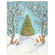Woodland and Christmas Tree Christmas Card Box A Size 16 In (88017)