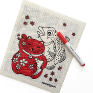 Swedish Coloring Dishcloth and Marker Set - Lucky Kitty