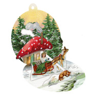 """Pop-Up Paper Bauble Gift Tag Decoration - Mushroom House - 2.75"""" (94415D)"""