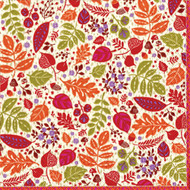 Calico Leaves Cocktail Napkins (11640C)