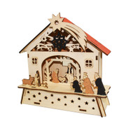 "Wooden Nordic Nativity Scene w/Votive Candle - 8"" (CY0056A)"