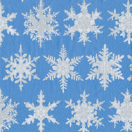 Falling Snow Blue Cocktail Napkins (12692C)