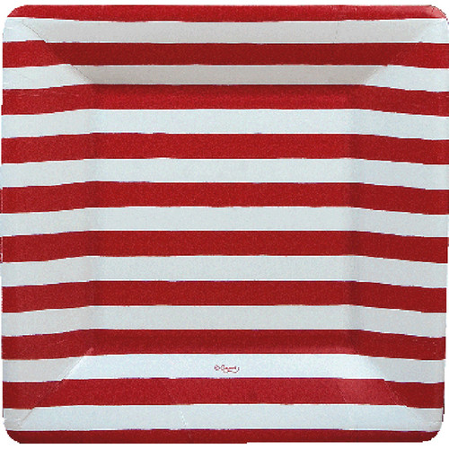 Red and White Stripe Dinner Plates (7920DP)