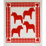 Swedish Dishcloth - Dala Horse Red (205R)