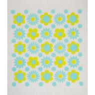Swedish Dishcloth - Flower Power Aqua (218.54A)