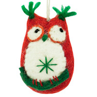 Owl Felt Ornament - Red (471135R)