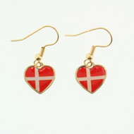"Denmark Flag Heart Earrings - Enamel - 1/2"" (100ED)"