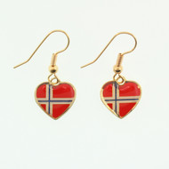 "Norway Flag Heart Earrings - Enamel (Dangle) - 1/2"" (100EN)"