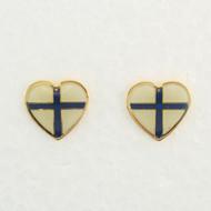 """Finland Flag Earrings (Posts) - Enamel - 1/2"""" (100EPF)"""