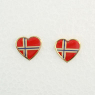 "Norway Flag Earrings (Posts) - Enamel - 1/2"" (100EPN)"