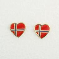 """Norway Flag Earrings (Posts) - Enamel - 1/2"""" (100EPN)"""