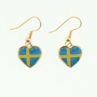 "Sweden Flag Heart Earrings - Enamel - 1/2"" (100ES)"