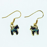 Dala Horse Earrings - Blue Enamel (104EB)