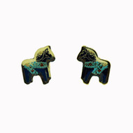 Dala Horse Earrings (Posts) - Blue Enamel (104EBP)