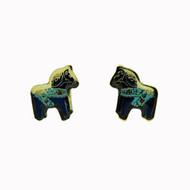 Dala Horse Earrings (Posts) - Blue Enamel (104EBP)