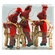 Tomte Girls & Boy on Straw Goat Ornaments - 3 Pack (H1-1620)