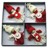 Boys and Girls Tomte Yarn Ornaments - 4 Pack (H1-1835)
