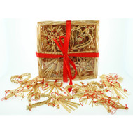 Straw Ornaments in Basket - 24 Assorted (H1-590)