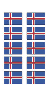 Iceland Flag Stickers - Pack of 60 (2576)