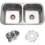 Houzer BSD-3209 Houzer Belleo Series Topmount Double Bowl Kitchen Sink Stainless Steel BSD-3209