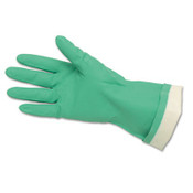 Flock-Lined Nitrile Gloves, Green, One Size (12 Pair)