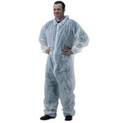 Disposable Coveralls with Collar, Medium, White (25/Case) Spun Bond Polypropylene