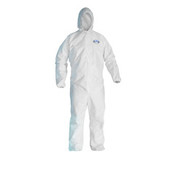 KLEENGUARD A40 Elastic-Cuff & Ankle Hooded Coveralls, White, X-Large (25/Case)