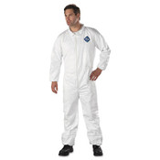 Protective coveralls with elastic at wrists and ankle cuffs.