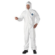 Hooded coveralls with elastic at wrists and ankles