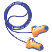 Laser Trak Detectable Single-Use Earplugs, Corded, 32NRR, Orange/Blue (100 Pairs)