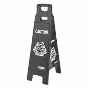 "Executive 4-Sided Multi-Lingual Caution Sign, Black/White, 11 9/10"" x 38"" (Qty. 1)"