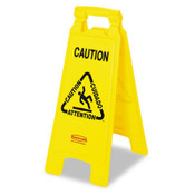 Bilingual Yellow Caution Floor Sign