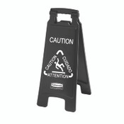 "2-Sided Multi-Lingual Caution Sign, Black/White, 10 9/10"" x 26 1/10"" (Qty. 1)"